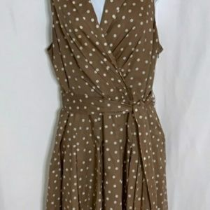 Jones Wear Brown Polka Dot Sleeveless Dresss